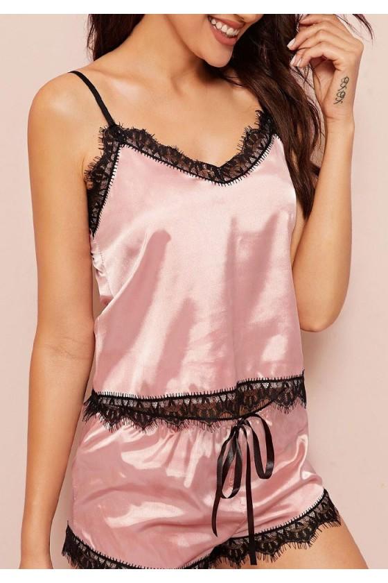 Pyjama sexy rose et noir