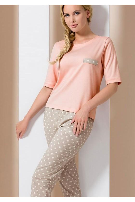 Pyjama rose et beige